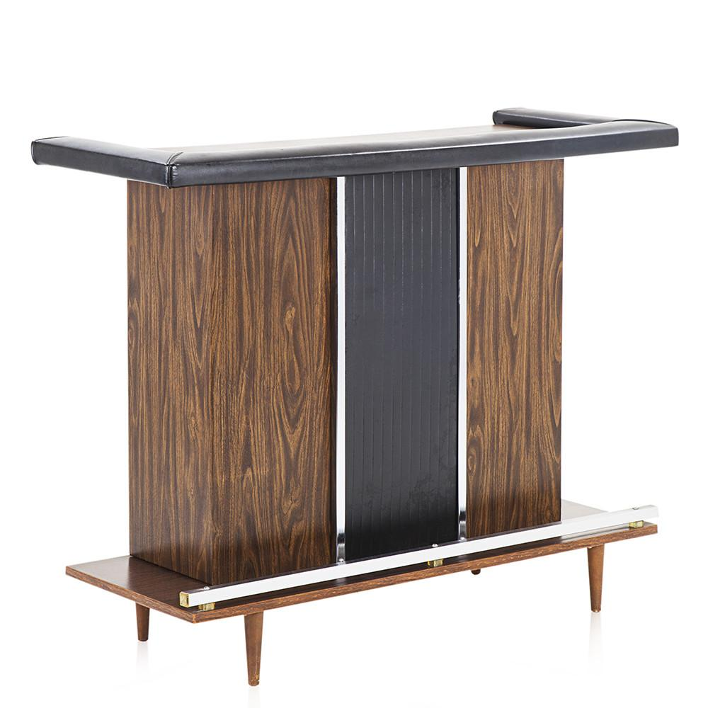 Black Vinyl and Wood Mid Century Bar