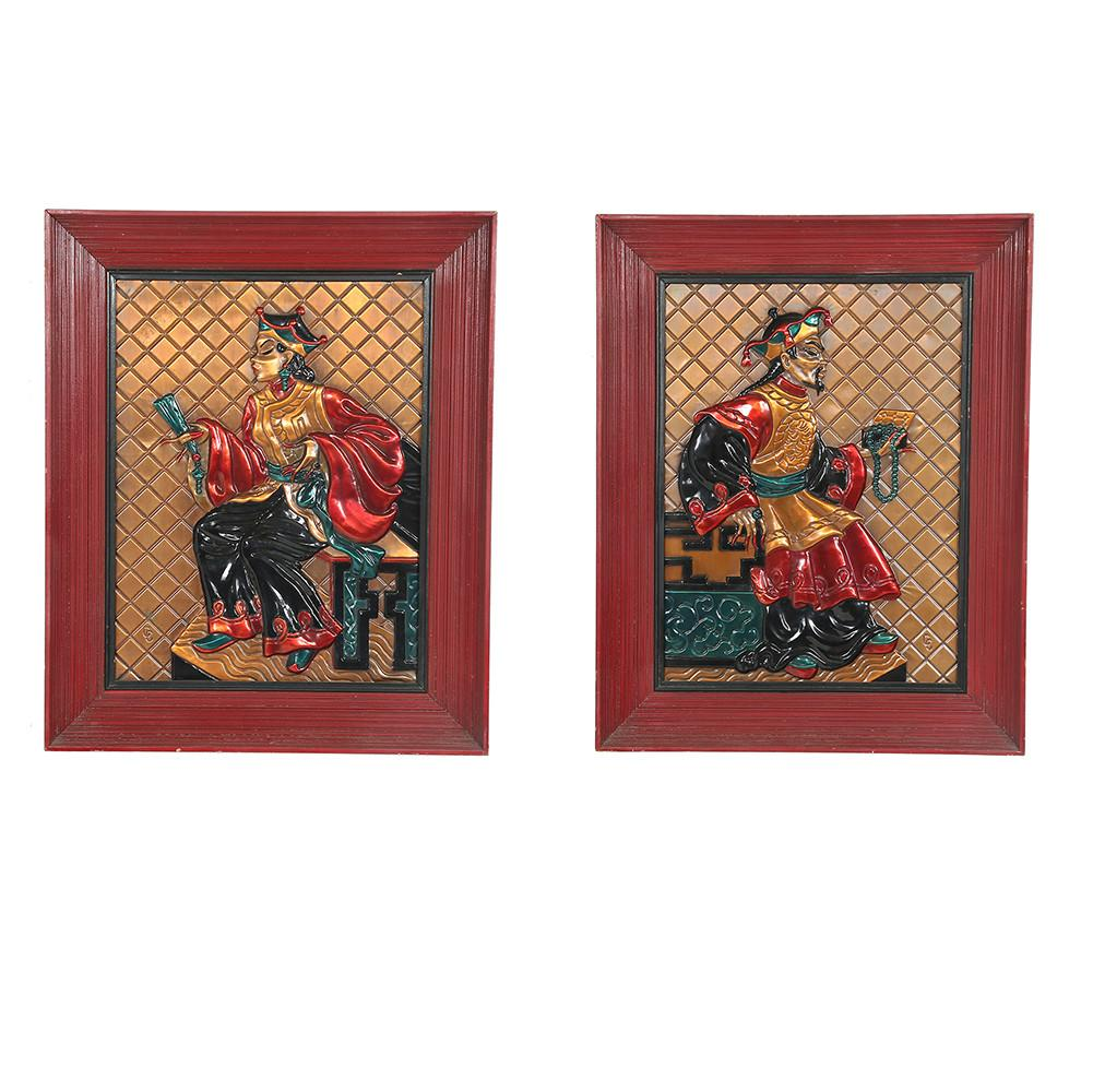 Pair of Red and Gold Asian Warriors Art