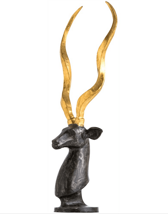 Black Antelope Bust with Gold Horns
