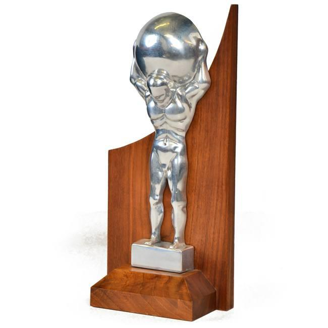 Silver Chrome Atlas Statue