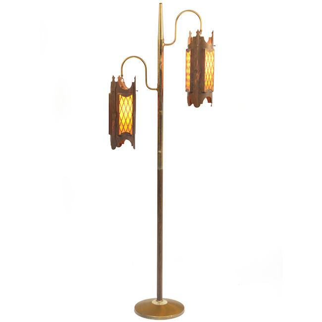 Rustic Double Hanging Pendant Floor Lamp