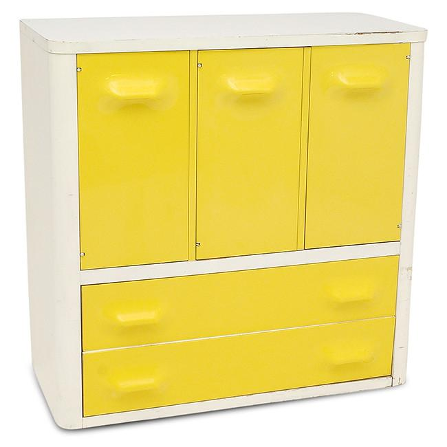 White Cabinet with Yellow Drawers