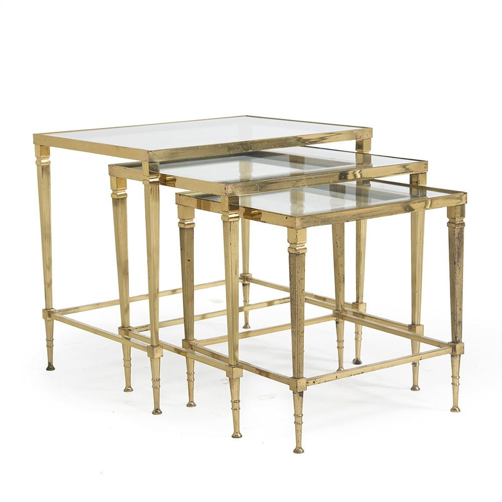 Brass Nesting Tables - Set of 3