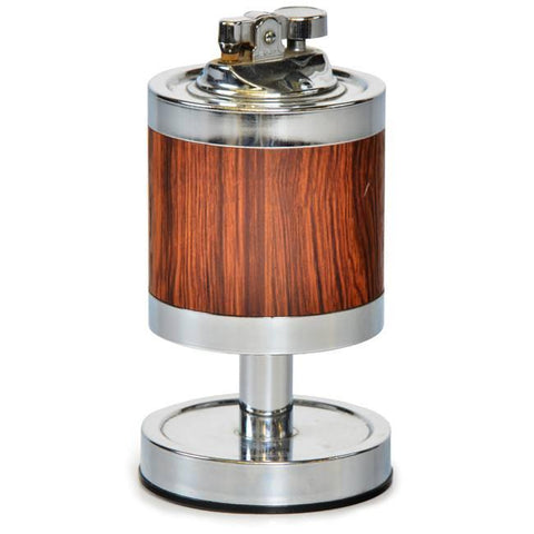 Chrome and Wood Table Lighter