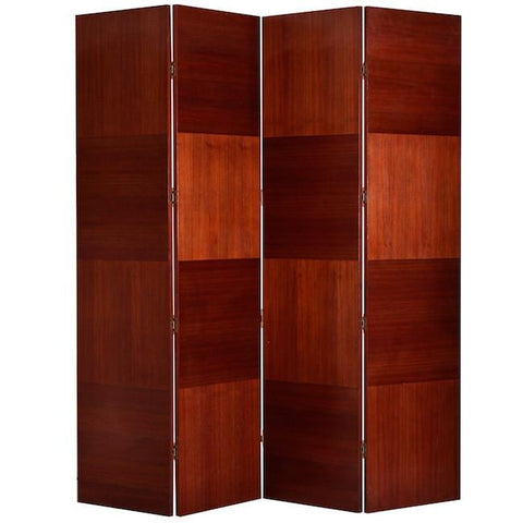 Large Cherry Wood Folding Divider Screen