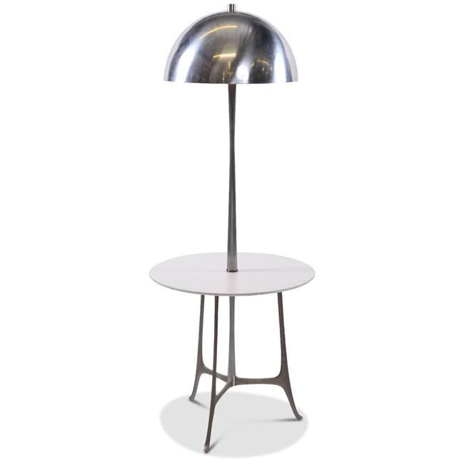 Chrome Lamp with White Side Table
