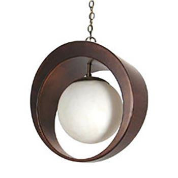 Circle Cut Out Walnut Hanging Pendant