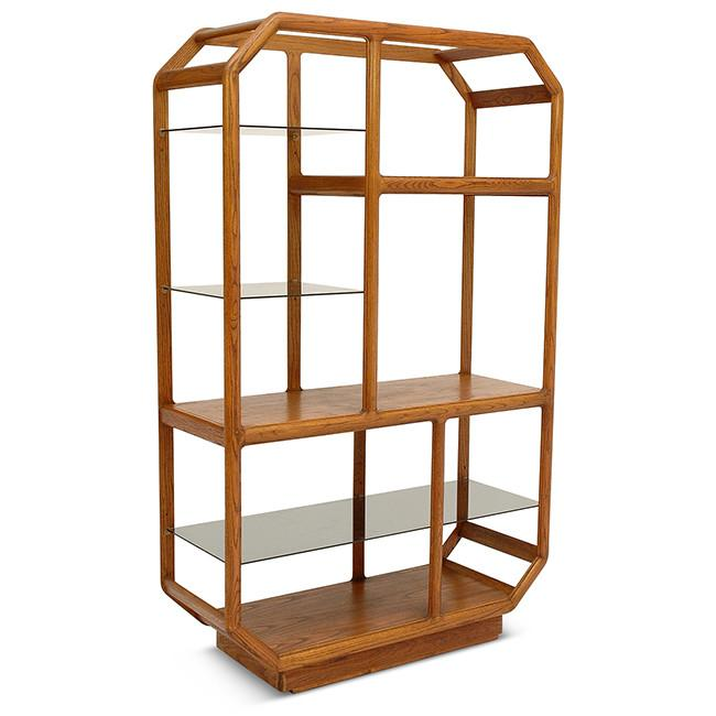 Wood Shelf Unit with Smoked Glass