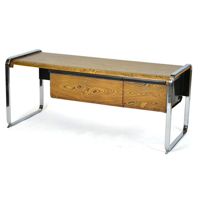 Chrome Leg Wood Desk with Outer Side Drawers