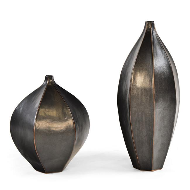 Black Leather Ribbed Vases