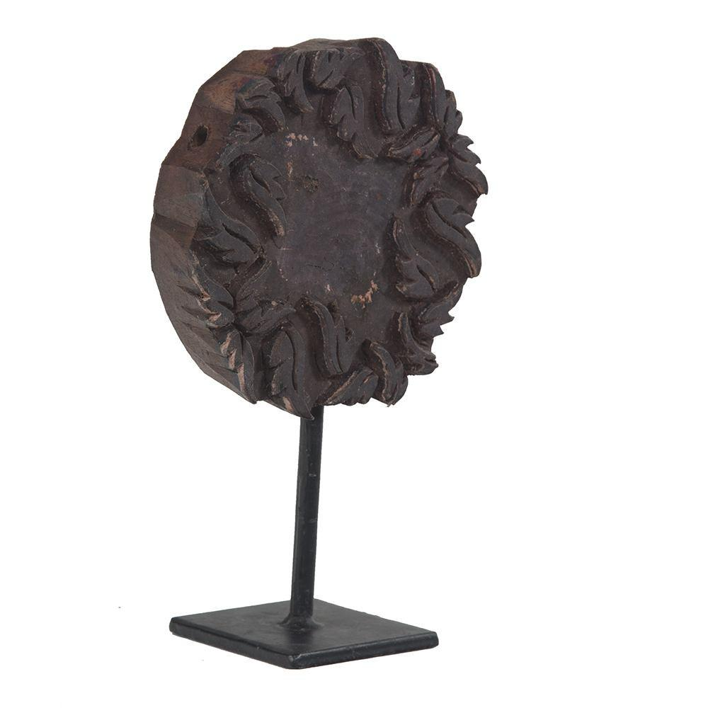 Wood Dark BFA Round Printing Block on Stand