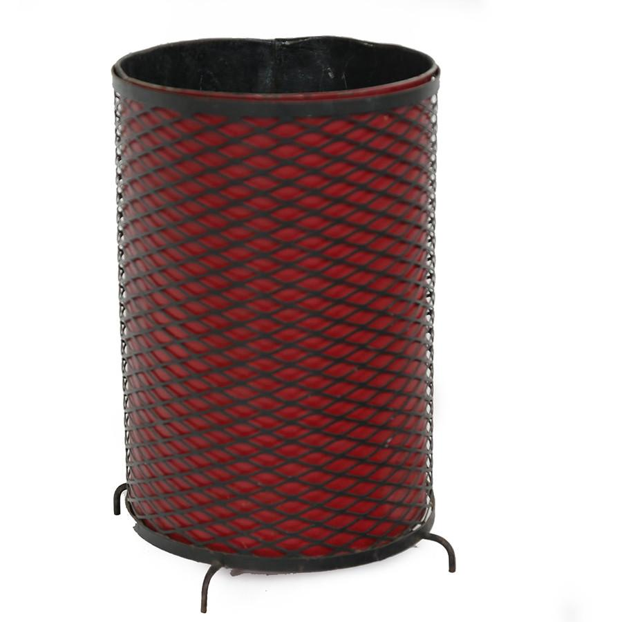 Red and Black Metal Trash Can