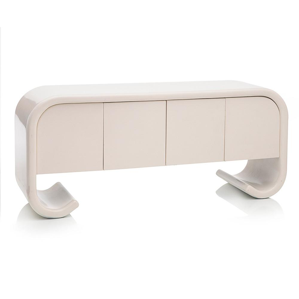 Curved Leg White Credenza