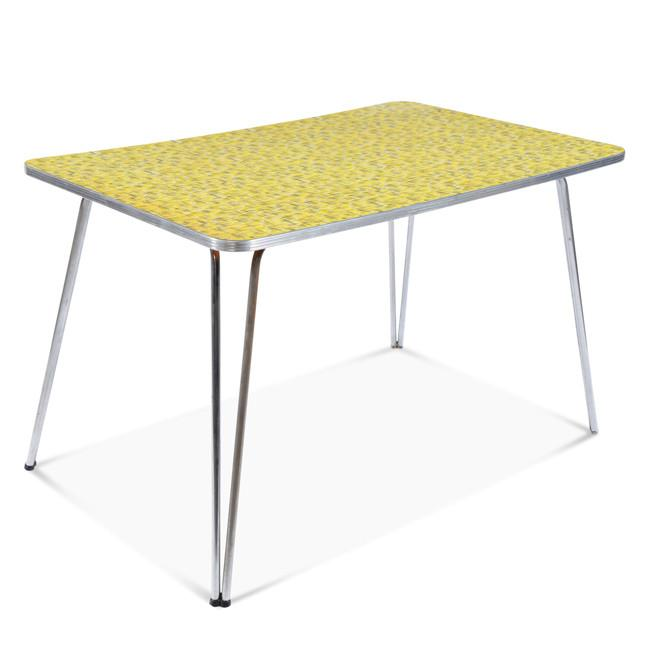 Yellow and Metal Dining Table