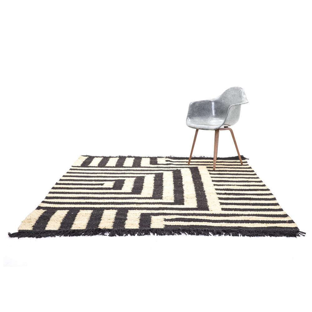 Black and Natural Graphic Rug