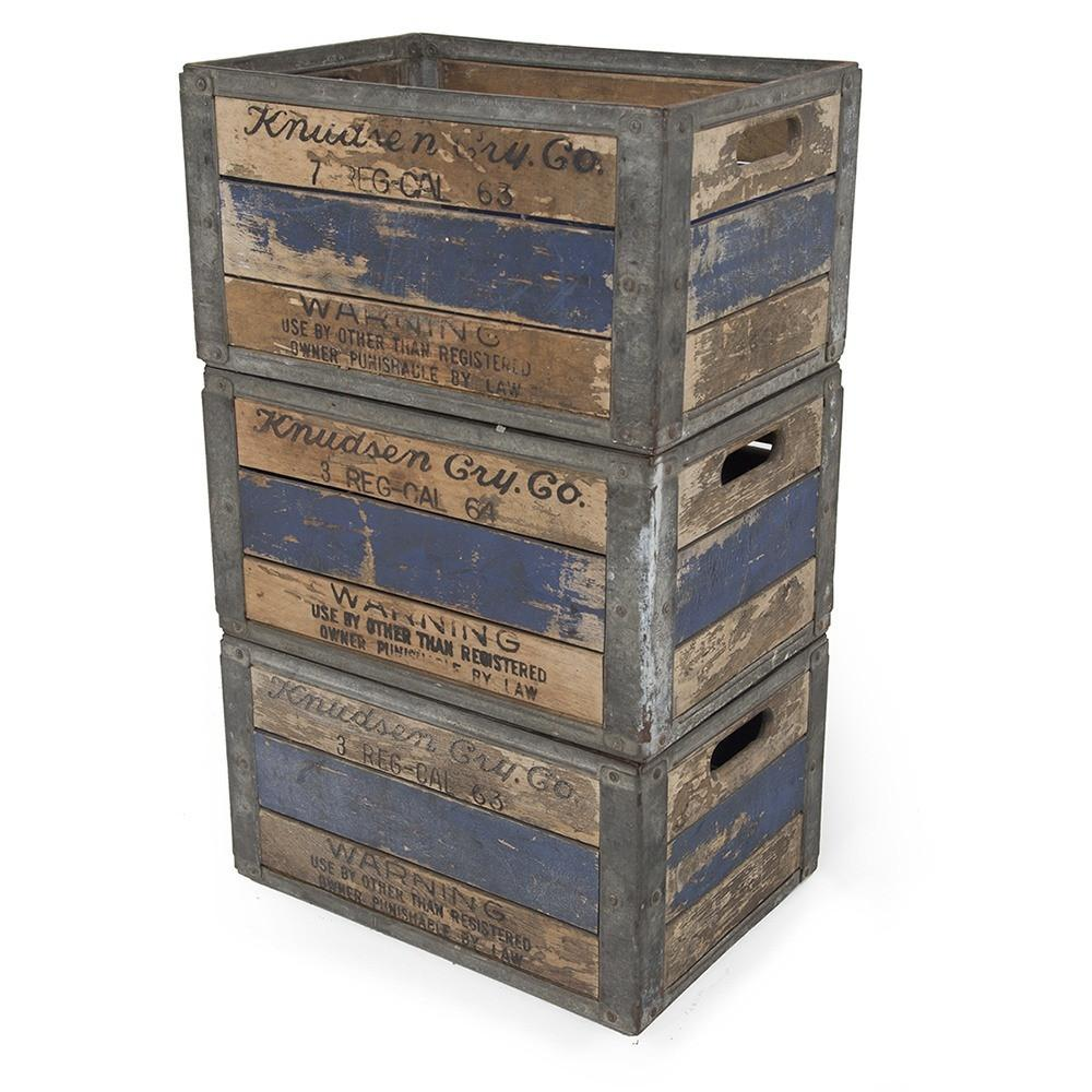 Stack of Blue Wood Crates