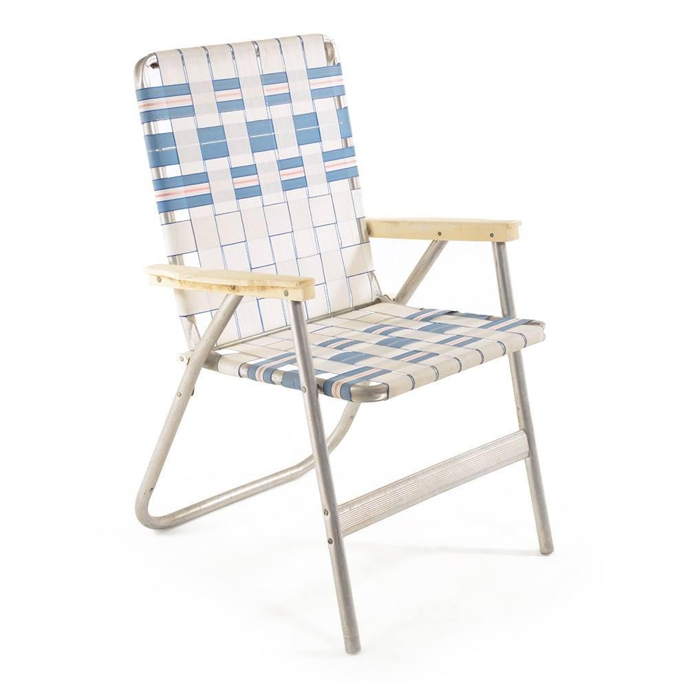 White and Blue Folding Lawn Chair