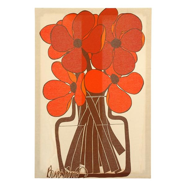 Pop Red Flowers Fabric Art