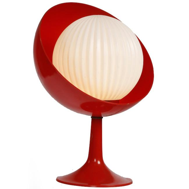 Red with White Globe Table Lamp