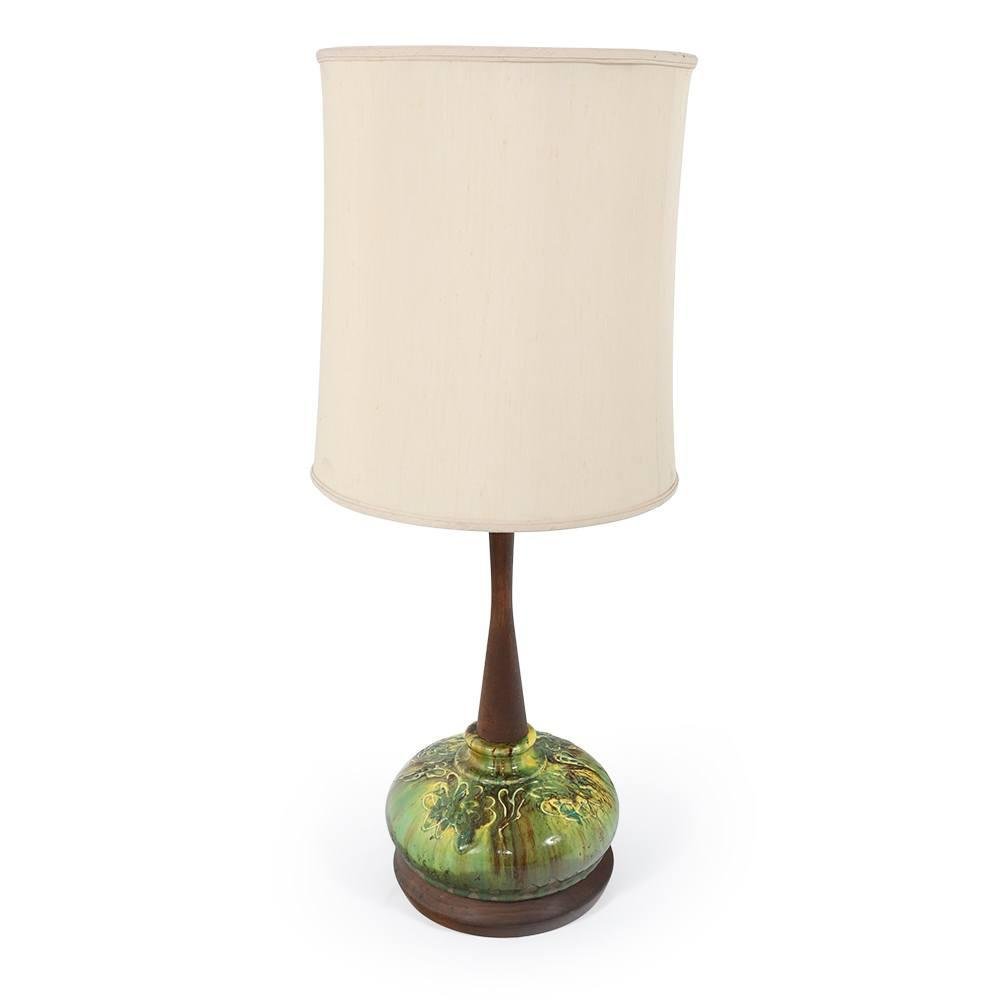 Green Ceramic Table Lamp #4
