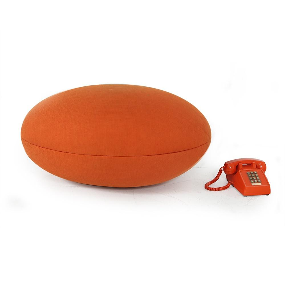 Orange Fabric Covered Egg Ottoman