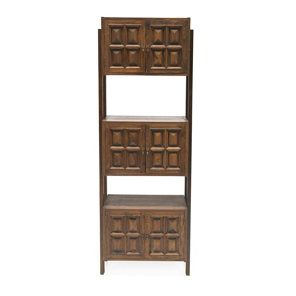 Dark Wood Block Cabinet Shelf Unit