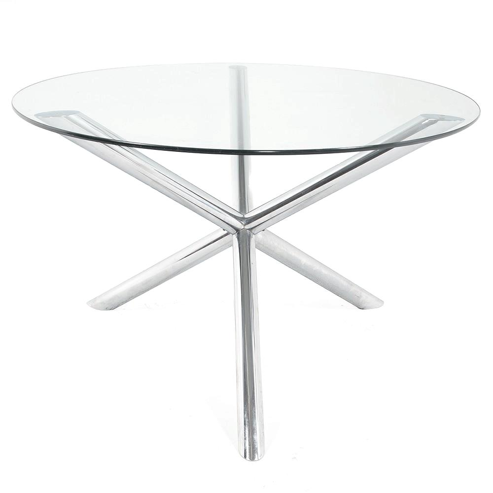 Three Leg Chrome Tube Dining Table