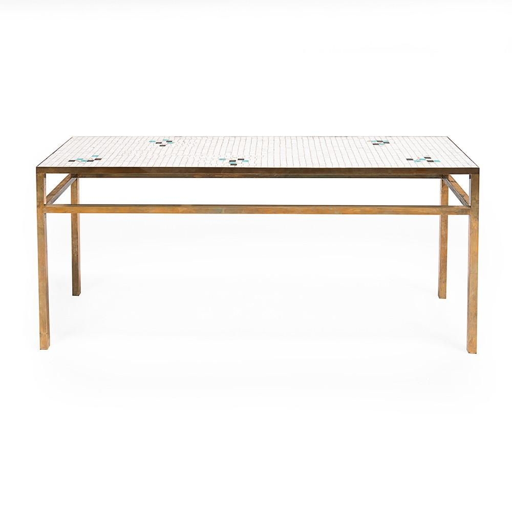 White Tile and Brass Console