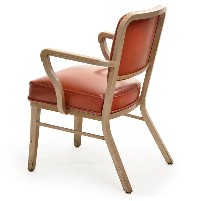 Leather and Metal Chair - Caramel