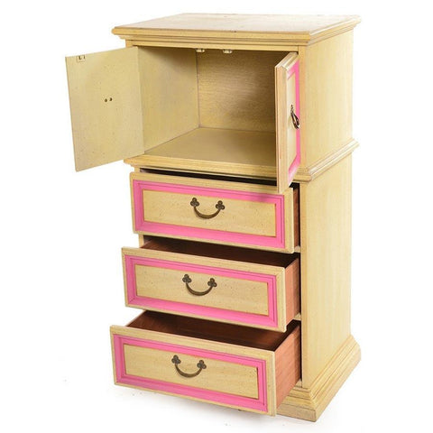 Wood Dresser with Pink Trim