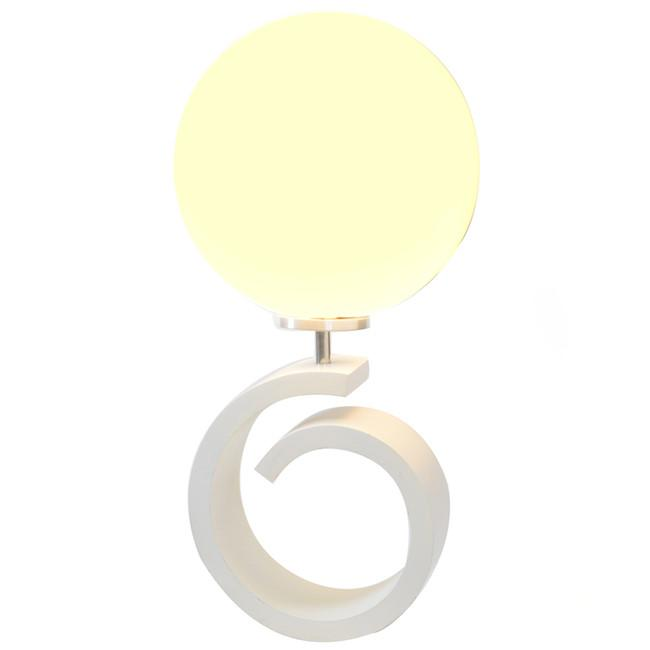 Pigtail Lamp with Globe - White