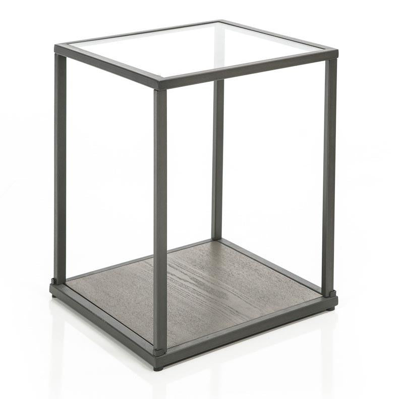 Square Glass Top Side Table