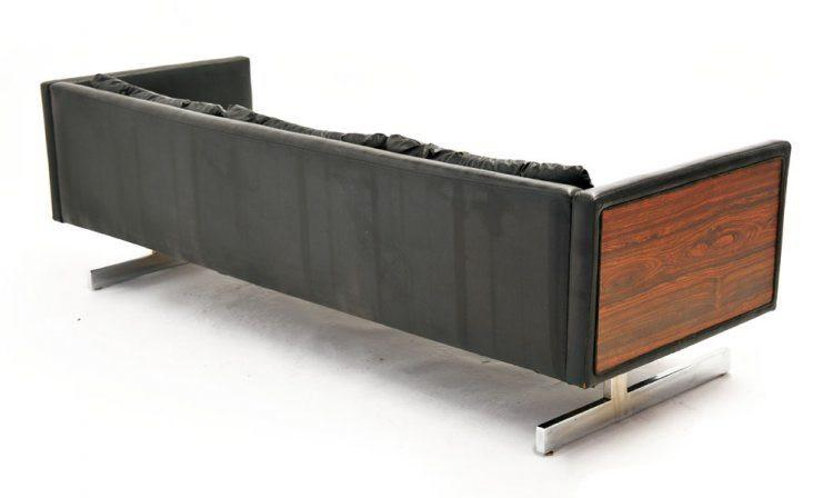Black Leather Sofa with Wood Sides