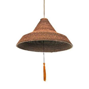 Wicker and Wood Triangle Hanging Pendant