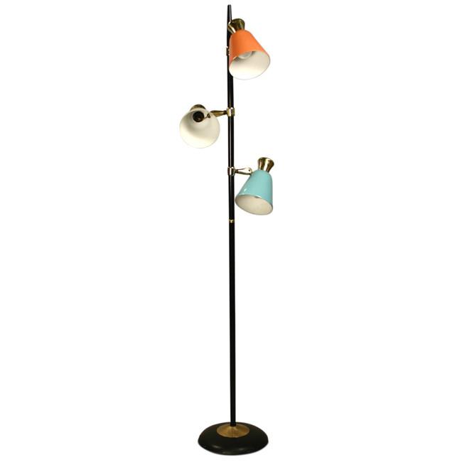 Coral, White and Light Blue Floor Lamp