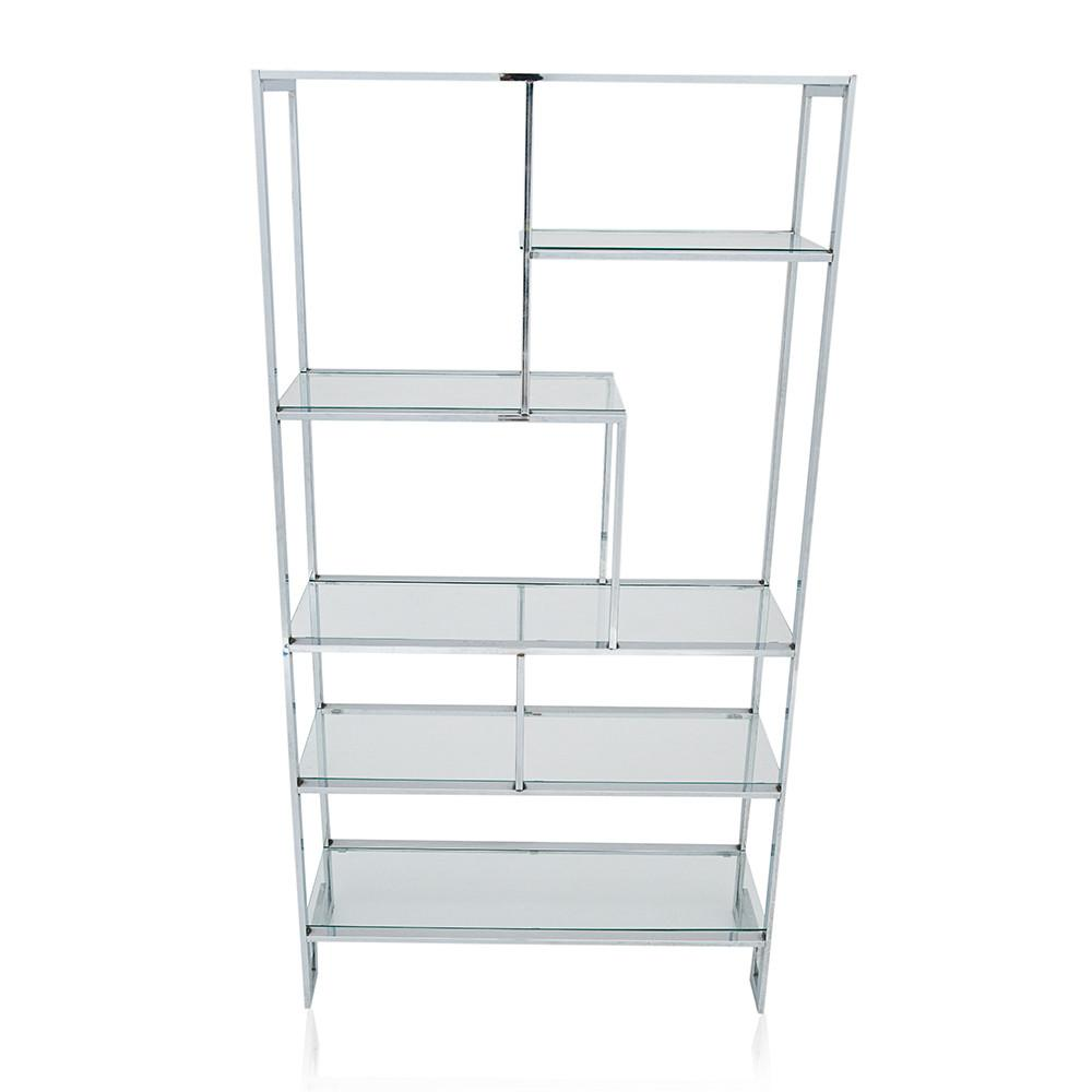 Markham Glass and Chrome Bookcase