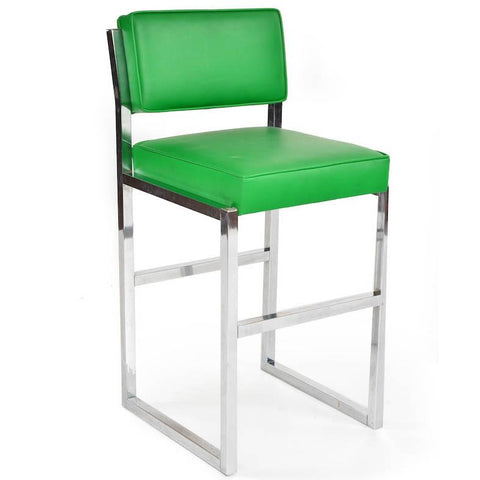 Green Cushion Chrome Stool