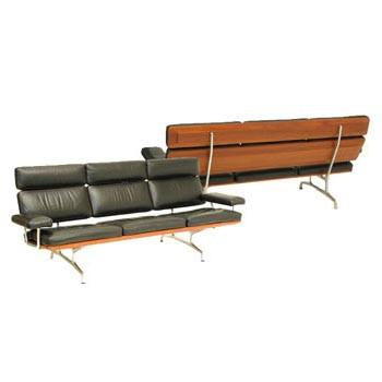 Black with Wood Back Sofa