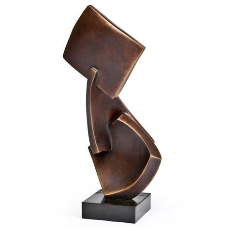 Abstract Bent Bronze Squares Table Sculpture