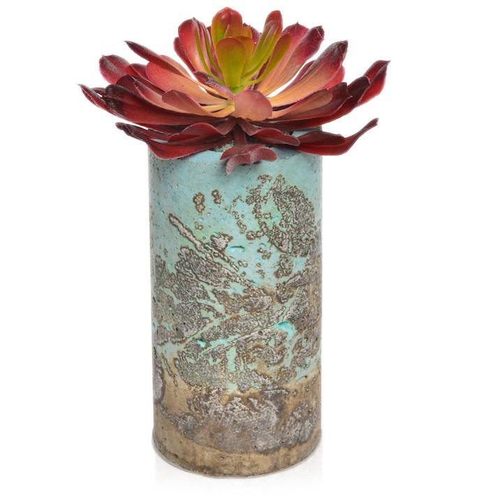 Blue Aqua BFA Ceramic Textured Vase Red