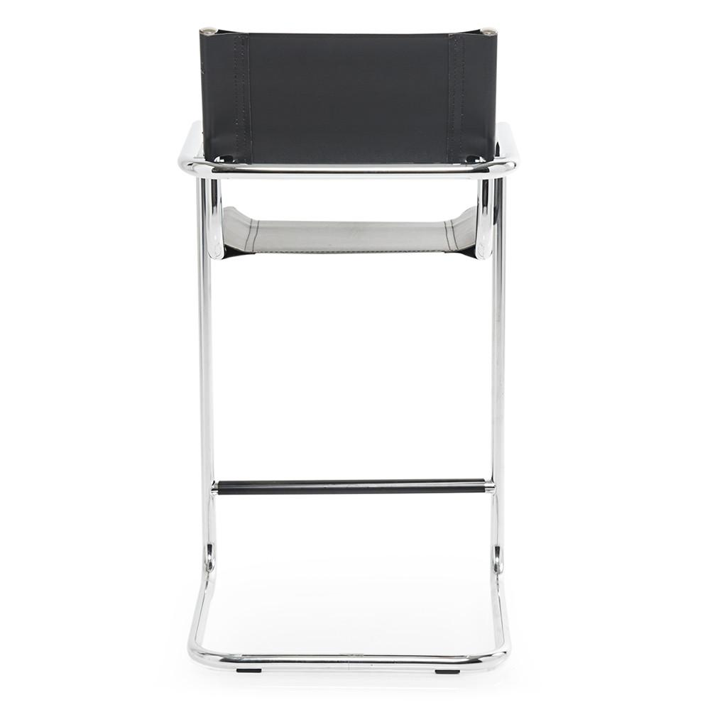 Chrome and Black Leather Barstool