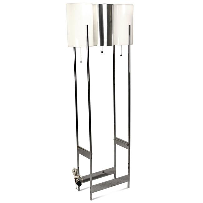 Chrome and White Acrylic Cylinder Shades Floor Lamp