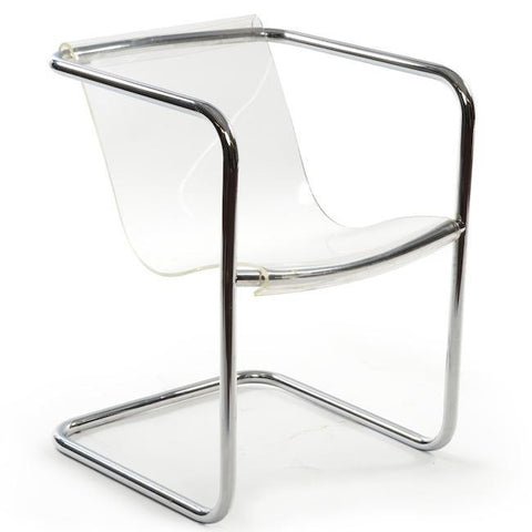 Lucite Chair with Chrome Frame