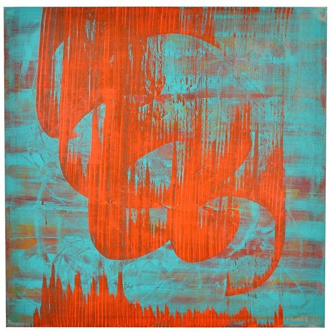 "100-682 Red Shapes on Turquoise (36"" x 36"")"