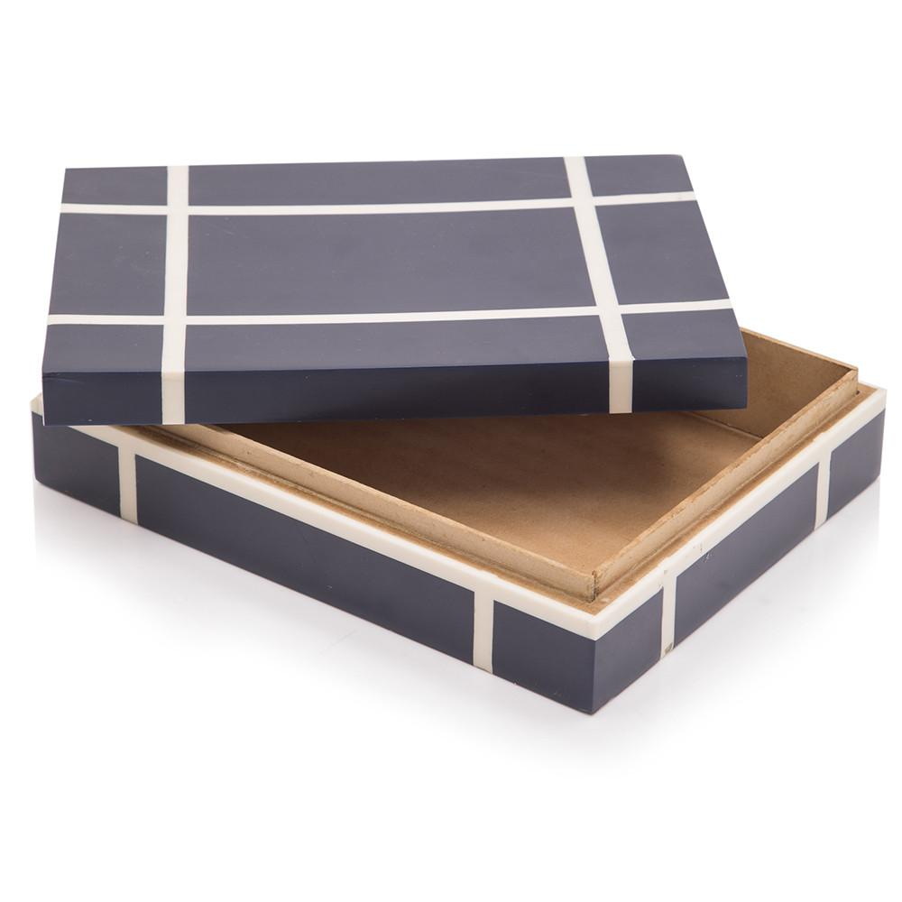 Black BFA Wooden Box with White Stripes