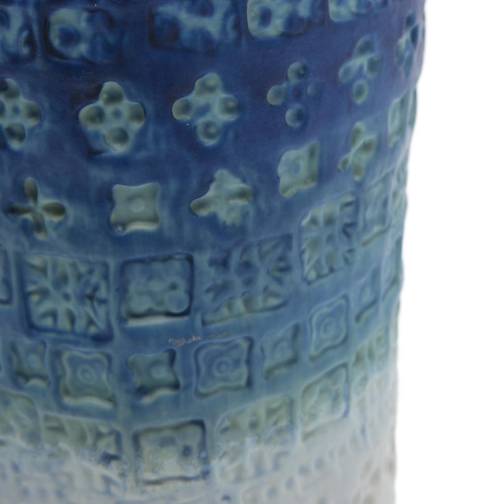 Blue BFA Ombre Ceramic Stamped Vase