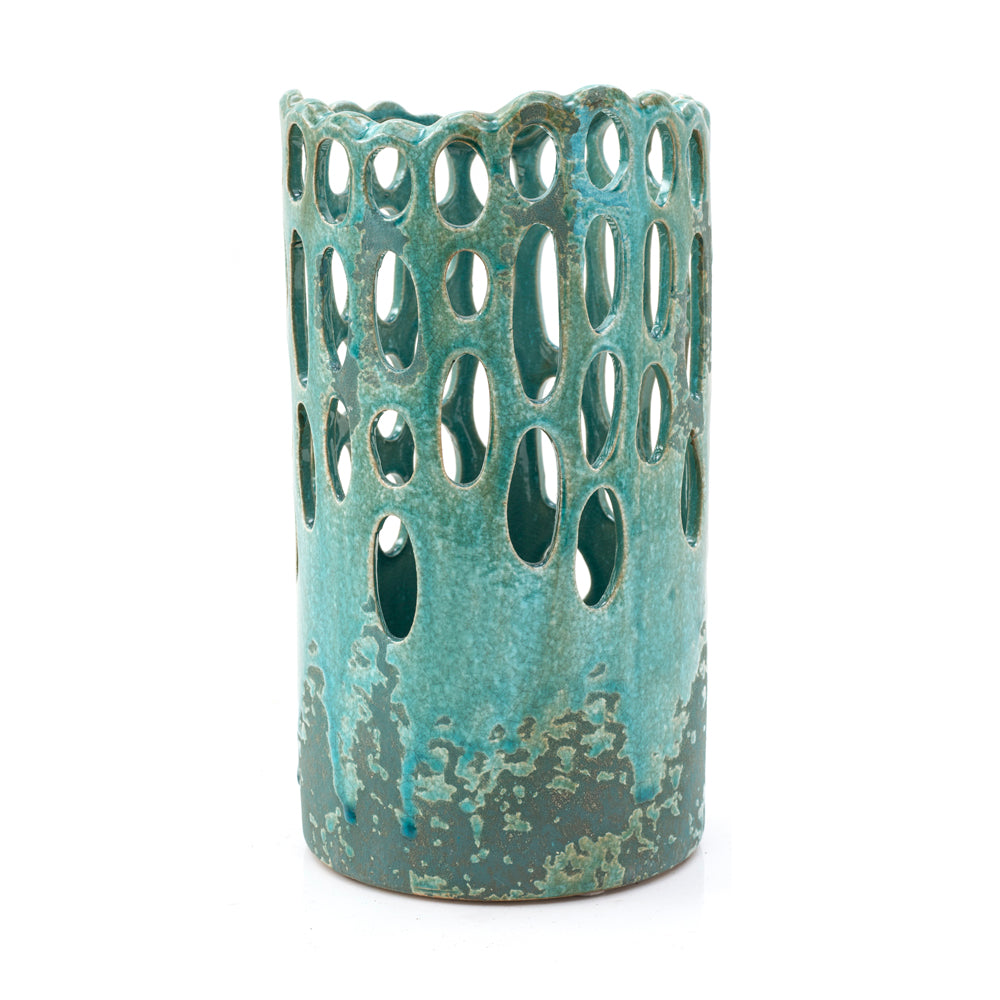 Blue Aqua BFA Ceramic Cut-out Vase