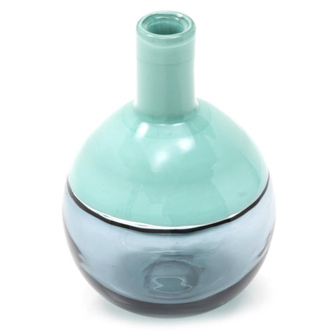 Blue Aqua BFA Glass Vase Round