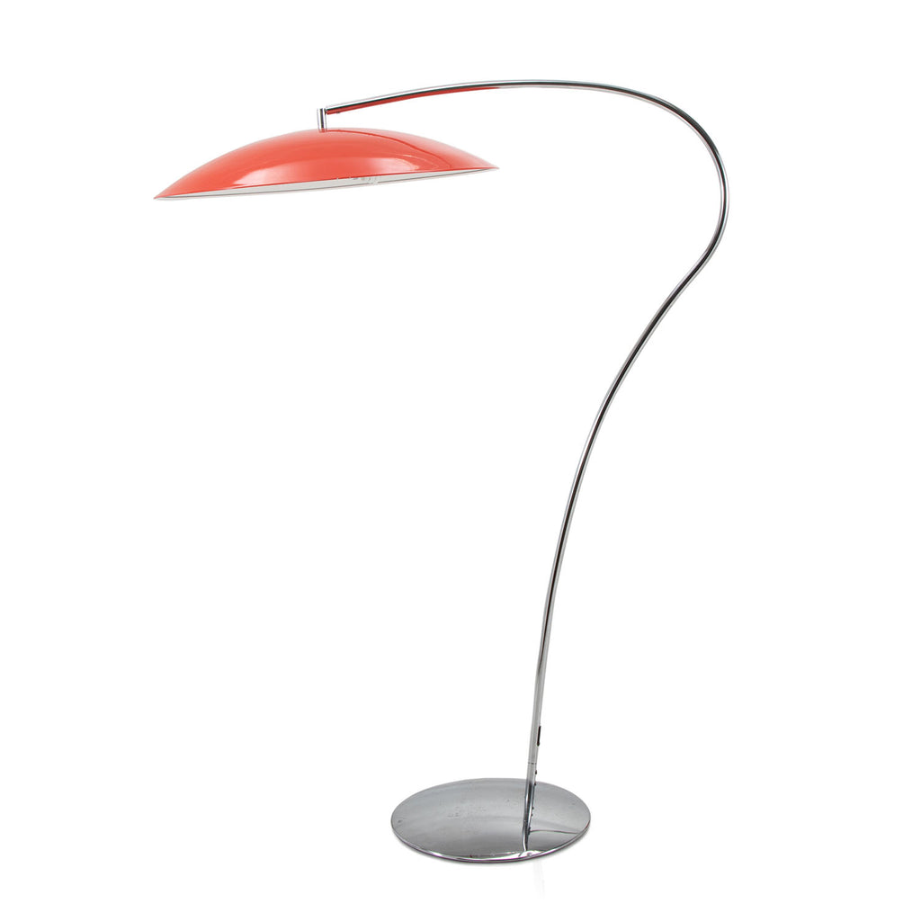 Curved Metal Red Shade Lamp