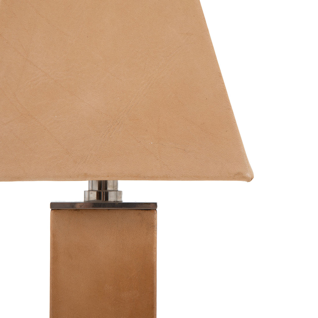 Tan Leather Table Lamp